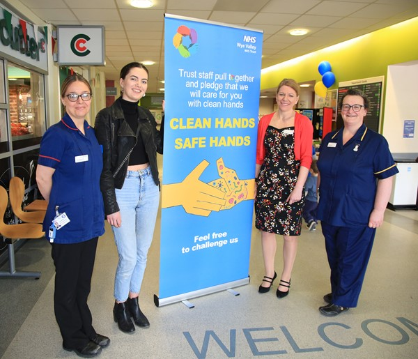Winner, student Miranda Appleton, with the infection prevention team, launching the new hand hygiene campaign