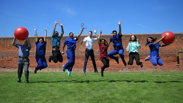 "Jumping for joy - The team of Junior Doctors at Hereford County Hospital limbering up for their ""Beyond Me"" challenge to raise funds for St Augustine's Hospital in Muheza, Tanzania."