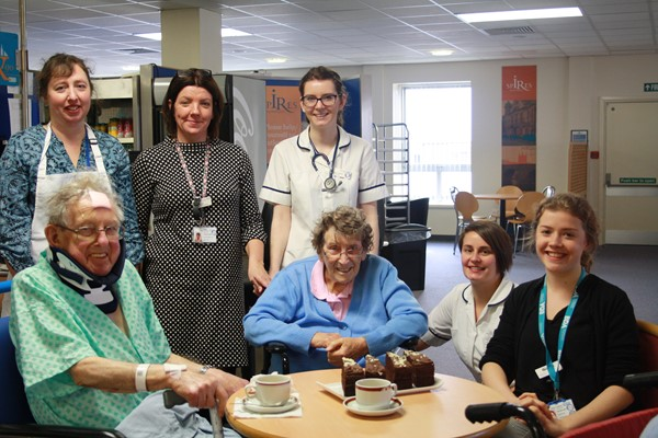Patients enjoy afternoon tea with staff