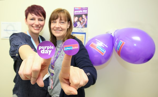 Raechel Robinson (left) and Caroline Amos – going purple on March 26 to raise awareness of epilepsy in Herefordshire