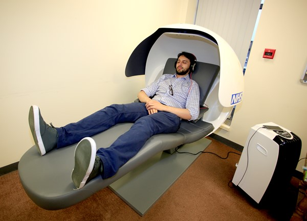 Doctor try's out new sleep pods